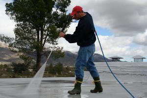 Power-washing roof for renovation
